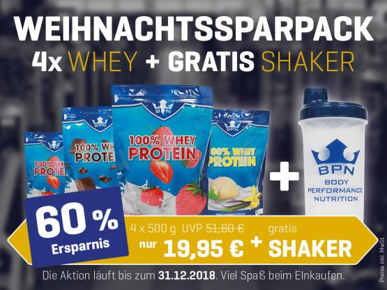 Weihnachts-Sparpack 100% WHEY + SHAKER