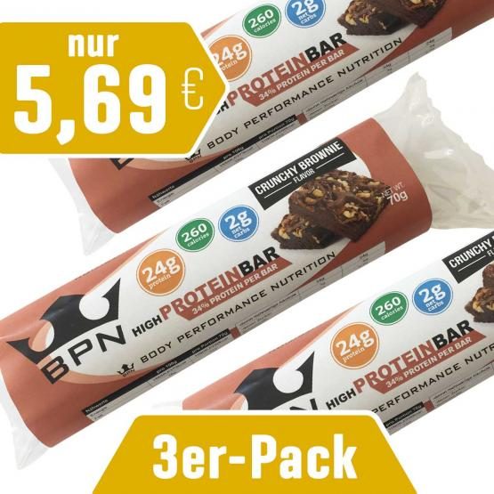 """3er-Pack Protein-Riegel """"Crunchy"""" Brownie"""