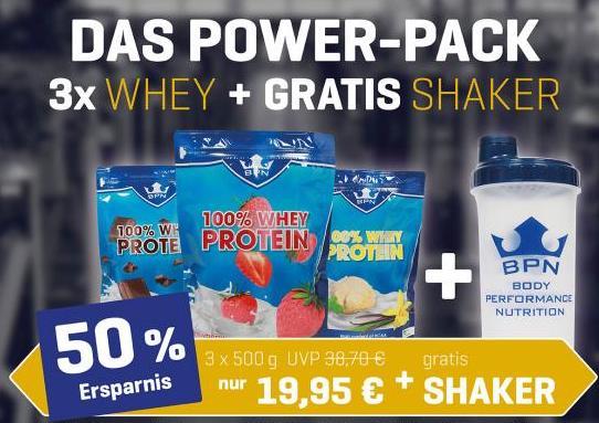 POWER-PACK 100% WHEY + SHAKER